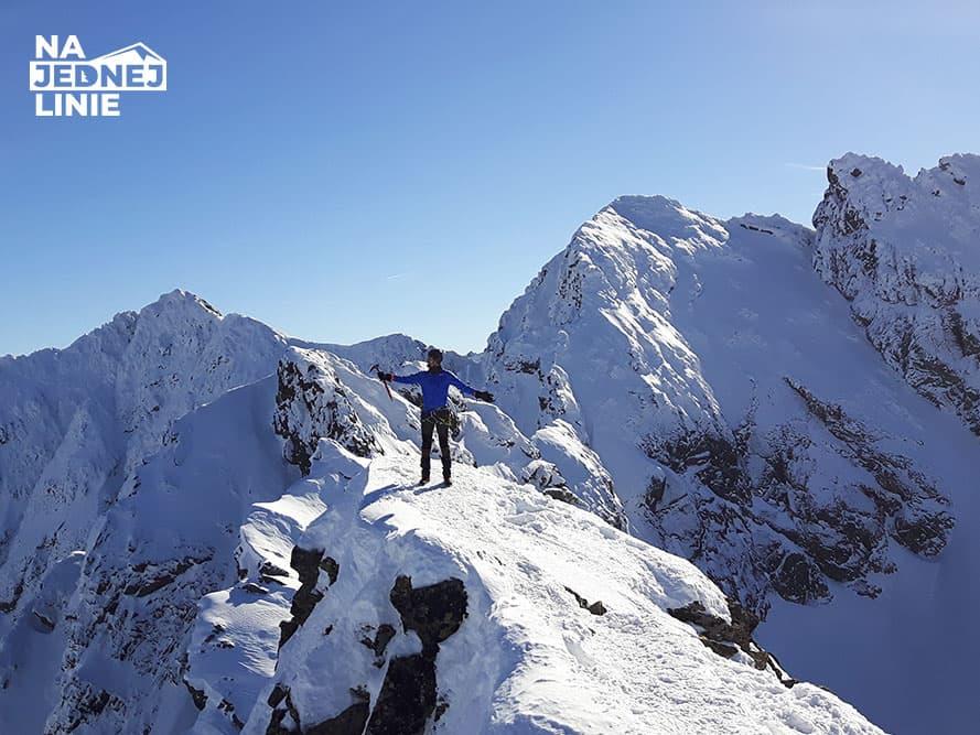Kościelec szczyt w Tatrach. Wejście zimowe szlakiem