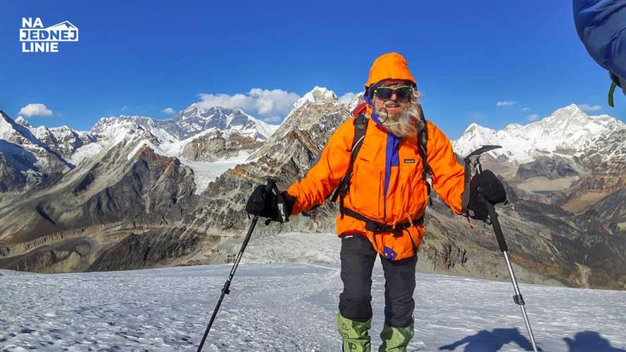 Uczestnik wyprawy szwajcarskiej na Mera Peak. Starszy Pan ale pełen krzepy.