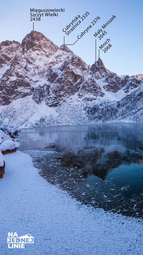 Panorama na z morskiego oka zimą