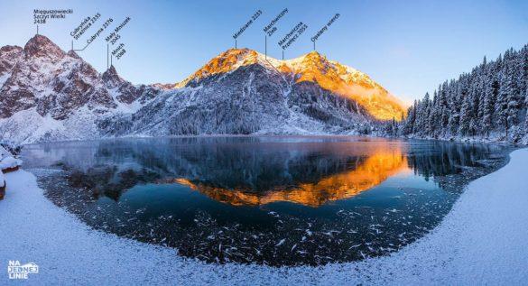 Panorama Morskie Oko zimą na Miedziane